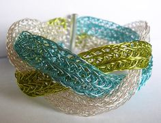 This is stunning!   REDUCED  Braided Viking Knit Bracelet  Lime by HarlequinWireworks, $40.00