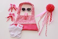 Girls Pink and White Floral Purse/Accessories Set by Anna's Array, $30.00 USD