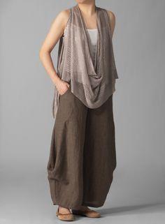 CUTE TOP: Linen over knit top by VIVIDlinen.com ($89.00)