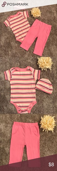 Baby Girl pink outfit Matching onesie, pants and hat set by Touched by Nature. NWOT. Super soft material!! The tag lists the size as 0-6 months but I think it would be best suited for 3-6 month old babies. Touched by Nature Matching Sets