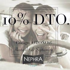 Ya que muchas nos lo habéis pedido.. los finales de mes no son buenos. ¡Ampliamos descuento hasta el 5/09/16! Consigue un 10% de Descuento en toda la web  [ código: OTOÑO16 ]   ▶️www.nephra.es