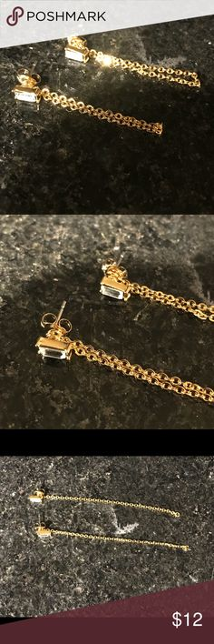 "18k Gold Plated Swarovski Earrings Super trendy 18k gold plated earrings with genuine Swarovski crystals. Can be worn short or long.   Adjustable length 1 1/2"" to 3""  Brand new with tags. Jewelry Earrings"