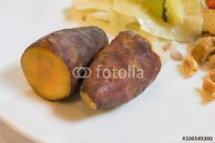 """Download the royalty-free photo """"The close up of delicious sweet potato with food on white plate."""" created by phasuthorn at the lowest price on Fotolia.com. Browse our cheap image bank online to find the perfect stock photo for your marketing projects!"""