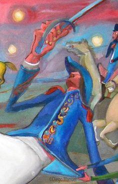 Batalla de San Lorenzo. Cuadro en venta de la Serie Historia Argentina del artista plastico Diego Manuel