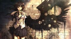 Angel with a shotgun By Nightcore also by The cab ! I LOVE THIS SONG<< nightcore angel with a shotgun by the cab Anime Angel, Ange Anime, Anime Art, Brown Hair Green Eyes, Girl With Brown Hair, Green Hair, Black Hair, Shadow Wings, Black Wings
