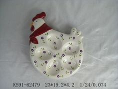 Rooster range ceramic egg tray