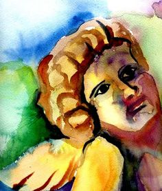 Angel Painting  - Angel Fine Art Print  made with Russian watercolors by Janet Doggett