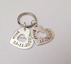 Heart keyring name & date of birth  by PFJewelleryshop on Etsy