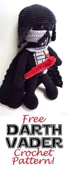 Darth Vader Amigurumi Doll: Free Crochet Pattern - Star Wars Vader - Ideas of Star Wars Vader - Darth Vader Crochet Amigurumi Free Patterns, Crochet Animal Patterns, Crochet Dolls, Crochet Baby, Free Crochet, Knitting Patterns, Knit Crochet, Knitting Toys, Crochet Animals