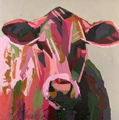 Cow Oil Painting by Kate Mullin . Palette knife. Thick Paint. www.katemullinart.com