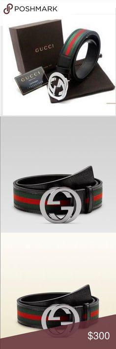 510bcdad3 Gucci Belt Genuine Leather Silver G Buckle Style 411924 H917N 1060 The  interlocking G buckle