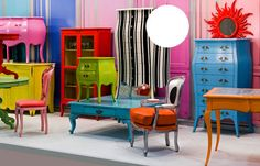 Old furniture painted bright colors for a focal point in a room and a little bit of excitement or interest.