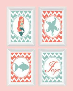 coral and gray room for baby | Nursery Art Custom Name Print Girl's Room Baby's Room Chevron Coral ...