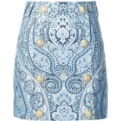 Balmain buttoned paisley mini skirt (20,665 GTQ) ❤ liked on Polyvore featuring skirts, mini skirts, button skirt, short miniskirt, balmain, paisley print skirt and blue paisley skirt