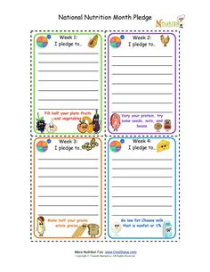 National Nutrition Month Weekly Pledge Cards For Kids