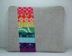 gorgeous rainbow and linen ipad pouch.