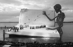 Bregenzer Festspiele (Bregenz Festival) is a performing arts festival which is held every July and August in Bregenz, Austria. It is famous for the creative stages that are built every year on Lake Constance. One of the most interesting ones is the skeleton reading a book, from 1999.