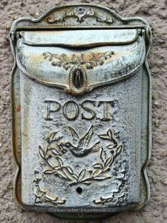 "vintage metal mail ""post"" box.  So amazing, I'd hang it inside the house. Maybe outside Meg's room for her mail.  So much better than sliding it under her bedroom door"