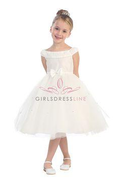 Ivory Taffeta and Tulle Flower Girl Dress T5582-IV T5582-IV $52.95 on www.GirlsDressLine.Com