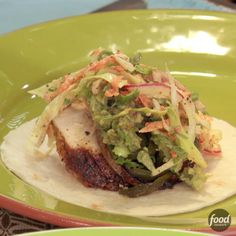 Spice-Rubbed Chicken Breast Tacos with Grilled Poblanos, BBQ Onions and Coleslaw - Cooking TV Recipes Grilled Chicken Tacos, Grilled Fish Recipes, Grilling Recipes, Cooking Recipes, Healthy Recipes, Cooking Tv, Sweet And Spicy Chicken, Easy To Cook Meals, Spice Rub
