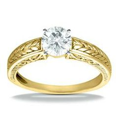 18K Yellow Gold Solitaire Engagement Ring Adair Jewelers ::