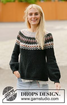 Ravelry: After Midnight Sweater pattern by DROPS design Drops Design, Fair Isle Knitting, Free Knitting, Sweater Knitting Patterns, Knit Patterns, Icelandic Sweaters, Nordic Sweater, Yarn Brands, Pulls
