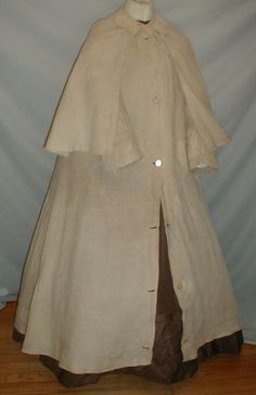 "RARE 1860-1870 Inverness Style Linen Duster Coat | eBay seller fiddybee, wide cape attached at neckline, two front pockets and front button closure that extends from neck to hem, unlined, Very good condition, no underarm discoloration, holes or splits, This style was often worn but rarely seen on the open market.  Shoulders 17""; bust: 34""; length from shoulder to hem: 50""; width at hemline: 118"""