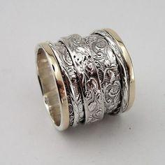Lady Women 925 Sterling Silver & 9K Gold filigree swivel ring size 7.5 (d r1