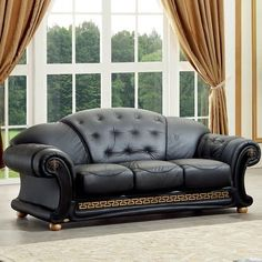 Luca Home Black Italian Leather Classic Contemporary Sofa (Luca Home Black Leather Sofa) Italian Leather Sofa, Best Leather Sofa, Black Leather Sofas, Leather Loveseat, Brown Leather, Sofa Furniture, Luxury Furniture, Living Room Furniture, Furniture Design