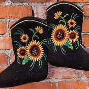 """Обувь ручной работы. Ярмарка Мастеров - ручная работа Вышитые валенки """"Подсолнухи"""". Handmade."""