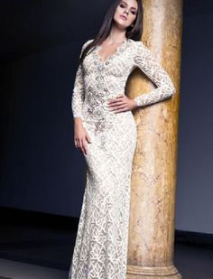 Baccio Letty Painted Lace Long Dress