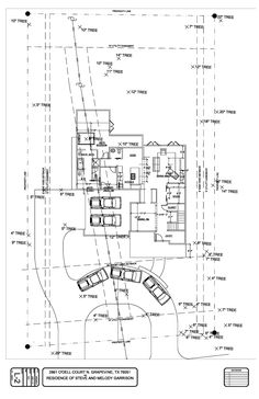 Drawing with half circle driveway and side entry driveway.