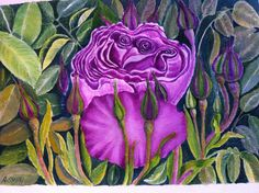 Purple rose Purple Roses, Watercolor, Colour, Painting, Beauty, Art, Pen And Wash, Color, Art Background