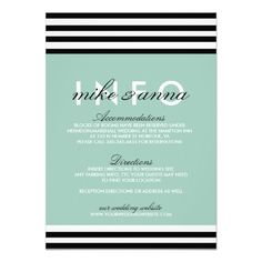 Striped Black, White, and Mint Information Card