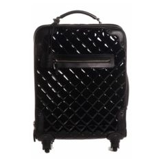 CHANEL Trolley RARE Authentic Chanel Black Quilted Patent Trolley - Made in Italy. In pristine condition. Includes its authenticity card, tag, dustbag, booklet, lock/keys and hanging clochette. Patent leather with calfskin accents & silver hardware. Top/side handle, front zipper pocket, internal/roller mechanism and a 3/4 wrap around zipper. Interior features 1 main compartment, 2 side pockets, 1 large side zipping pocket and straps. ASO many celebrities (last picture: Kim Zolciak)…