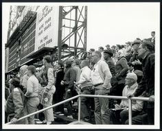 Spectators watching game two of the 1964 World Series between the St. Louis Cardinals and the New York Yankees at Sportsman's Park.