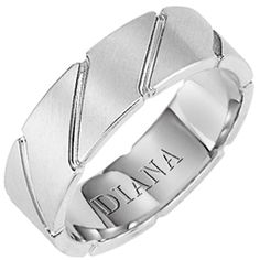 7mm comfort fit wedding band with diagonal brushed finish by Diana.