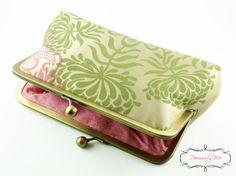 Pure Silk Clutch Bag Purse in Cream Green and Pink