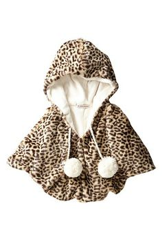 Million Polkadots Leopard Faux Fur Luxe  Hooded Poncho (Baby, Toddler, Little Girls, & Big Girls) by Million Polkadots on @HauteLook
