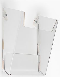 Acrylic wall-mount file/magazine organizer for home + work office >> Single Pocket Literature Holder for Wall Mount, Fits 8.5-inch Documents - Clear