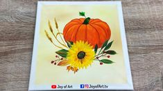 Pumpkin and Sunflower   Acrylic Painting by Joy of Art #187 Small Canvas, Painted Pumpkins, Painting & Drawing, Tube, Joy, Drawings, Painted Gourds, Glee, Sketches