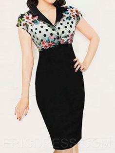 Ericdress Polka Dots Lapel Sheath Dress 1