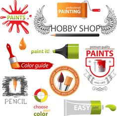 Colored paint objects design elements vector 01 free