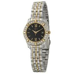 @Overstock - This elegant Seiko women's watch features a polished stainless steel and yellow goldplated  bracelet with matching case. The black dial is contrasted by Swarovski crystal accents.http://www.overstock.com/Jewelry-Watches/Seiko-Womens-Dress-Two-Tone-Stainless-Steel-Quartz-Watch/6822835/product.html?CID=214117 $104.99