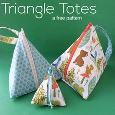 The free pattern for the Triangle Tote is clever and cute! They are handy-dandy little totes, perfect for carrying anything you can think of.