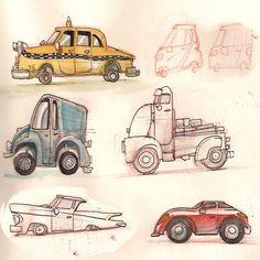 camions et voitures