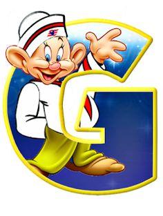 Alfabeto de personajes Disney con letras grandes G Mudito.