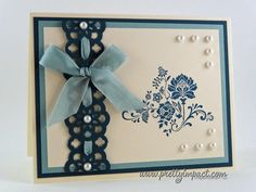 """Love how she used the ribbon with the """"Lace Ribbon Border Punch."""""""