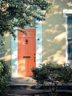 A bright orange door.