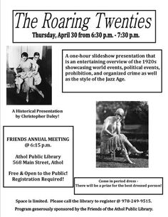 Have fun learning about the 1920s.  Costume contest!